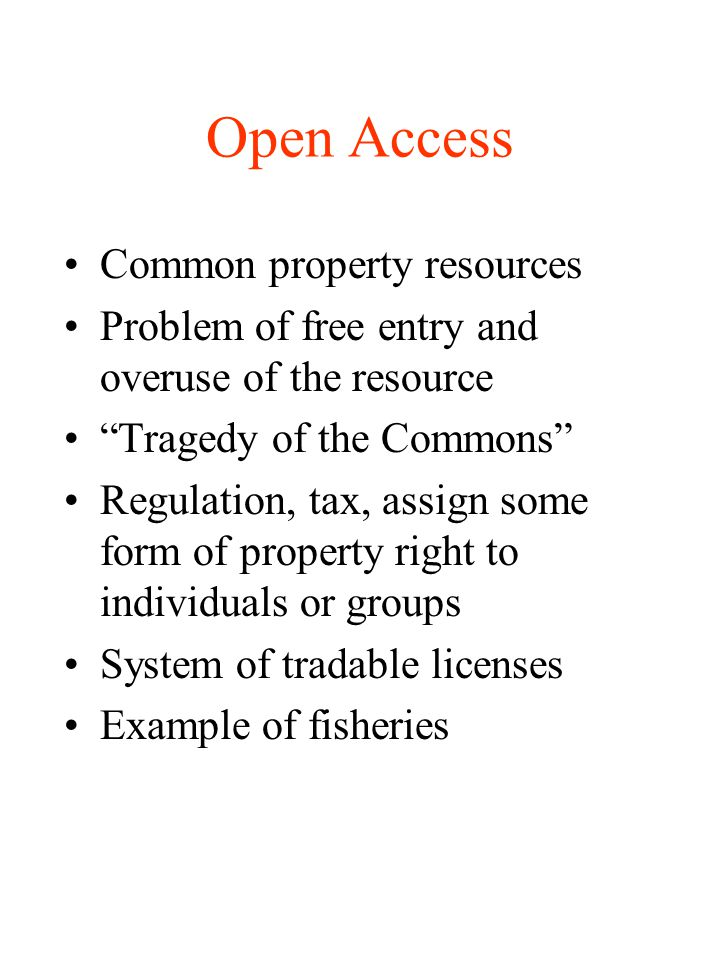 Open Access Common property resources