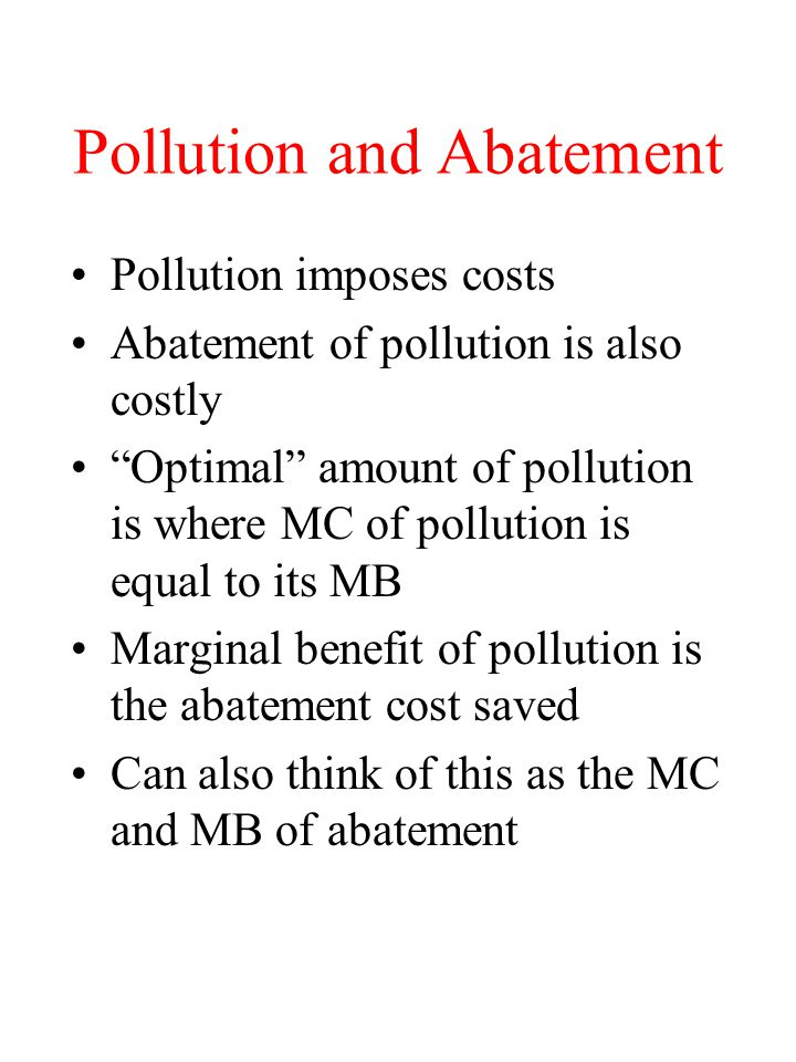 Pollution and Abatement