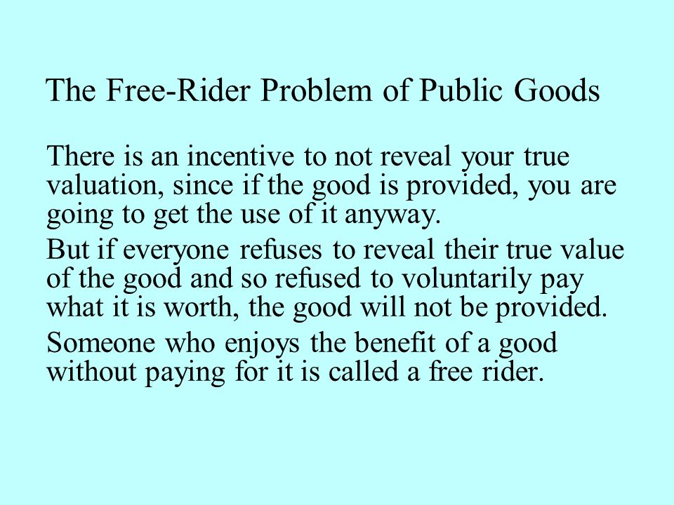 The Free-Rider Problem of Public Goods