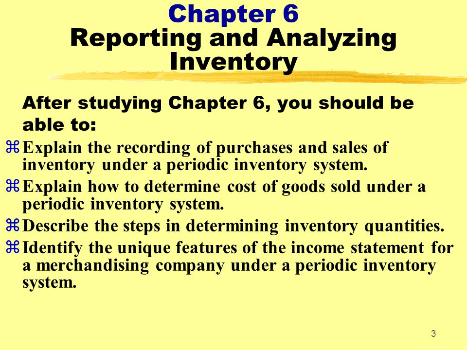 chapter i sales and inventory Chapter 5 accounting for merchandising operations  explain the recording of purchases and sales of inventory under a periodic inventory system.