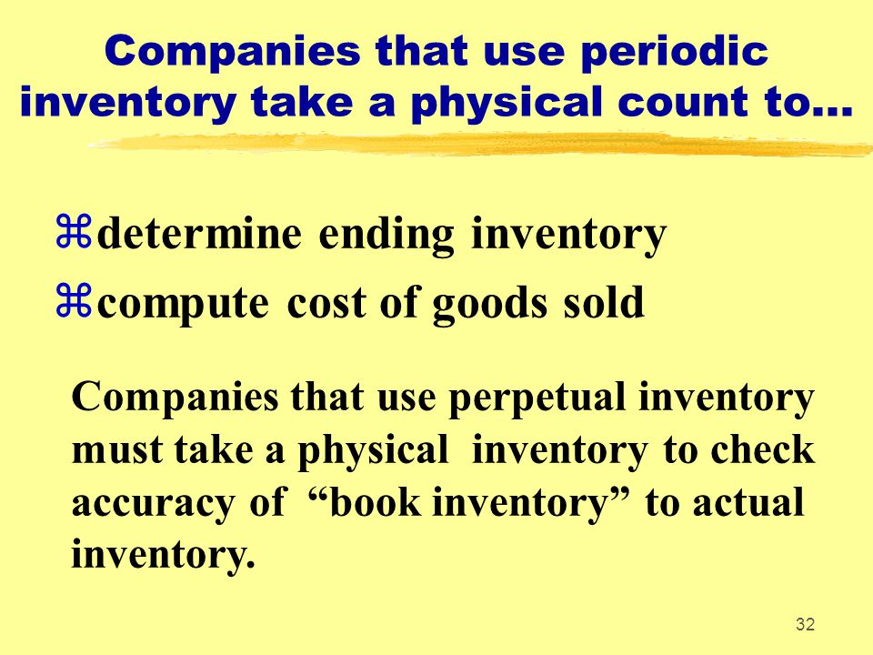 Companies that use periodic inventory take a physical count to...