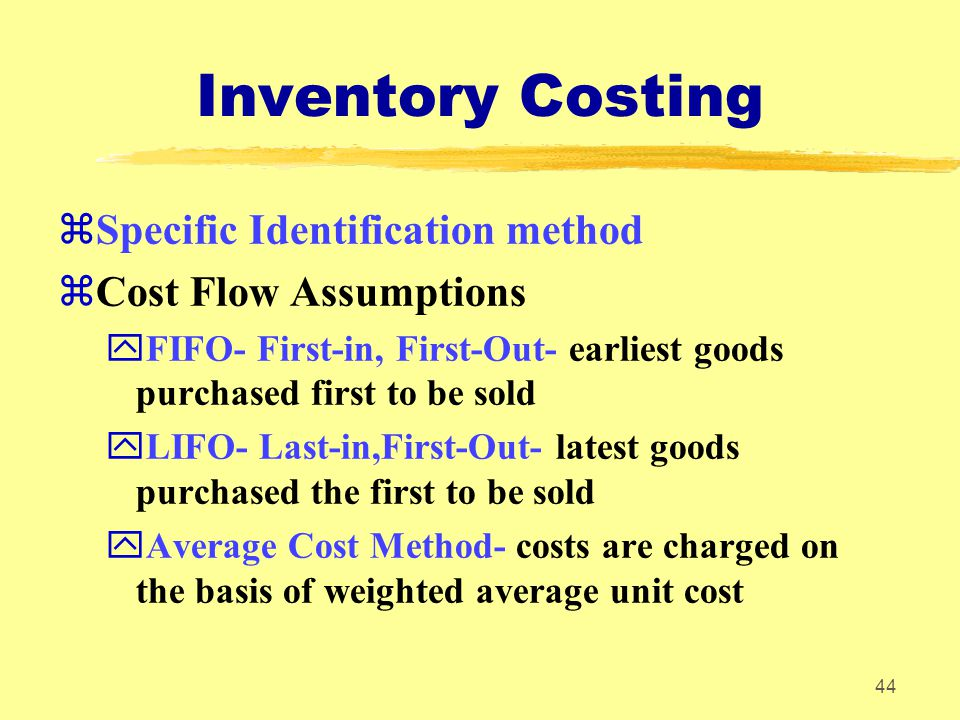 Inventory Costing Specific Identification method Cost Flow Assumptions