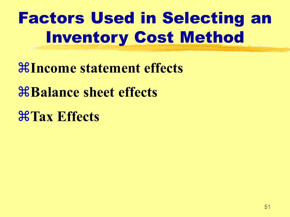 Factors Used in Selecting an Inventory Cost Method