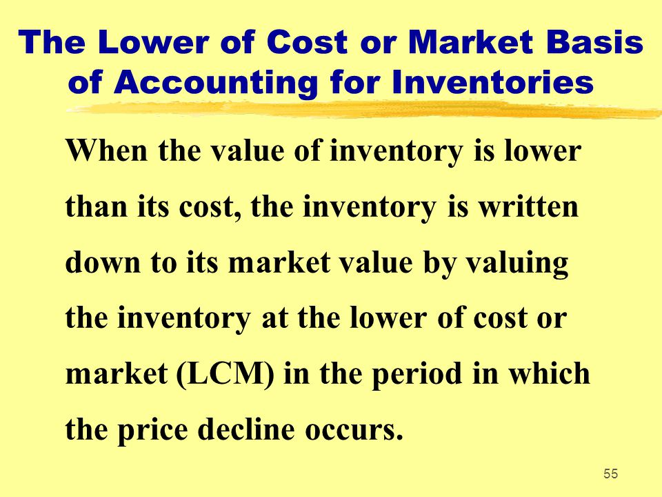 The Lower of Cost or Market Basis of Accounting for Inventories