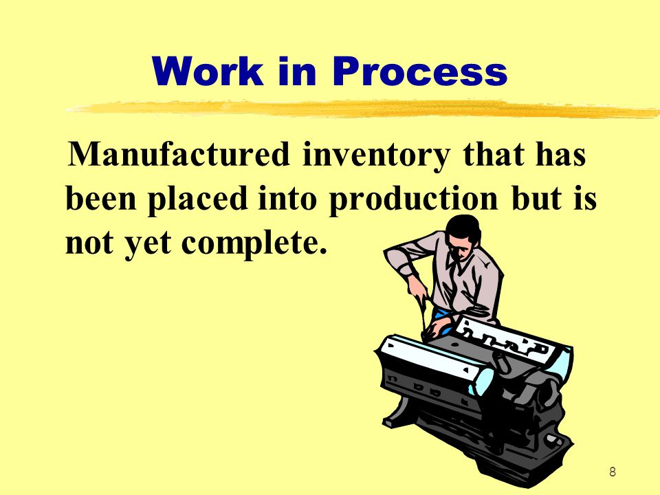 Work in Process Manufactured inventory that has been placed into production but is not yet complete.