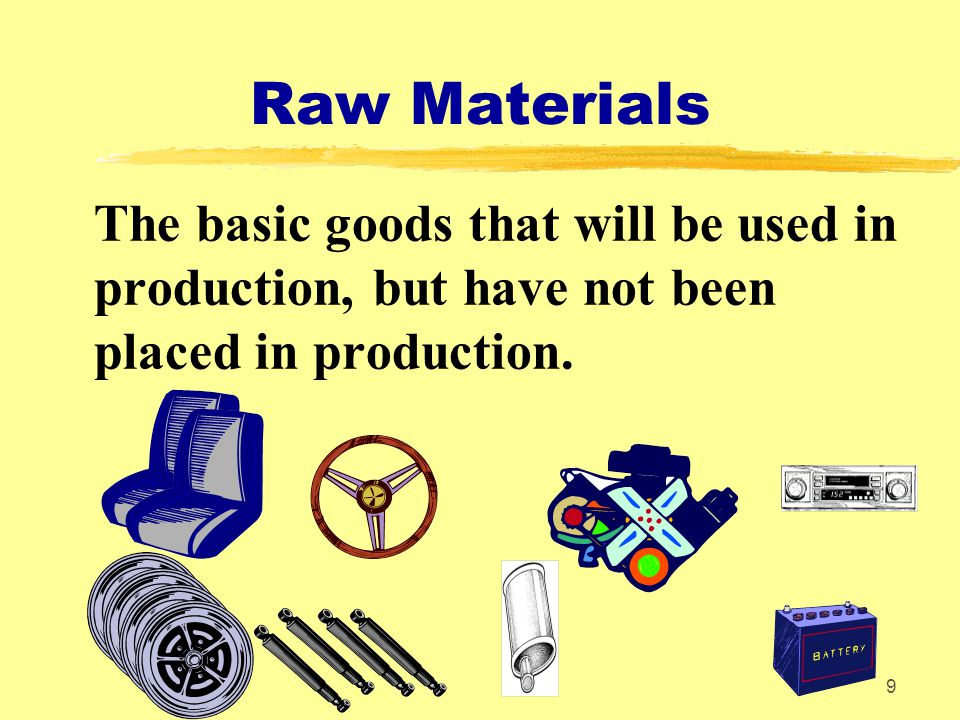 Raw Materials The basic goods that will be used in production, but have not been placed in production.