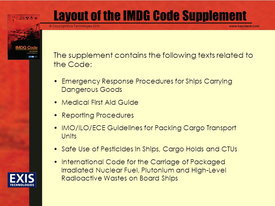 Layout of the IMDG Code Supplement