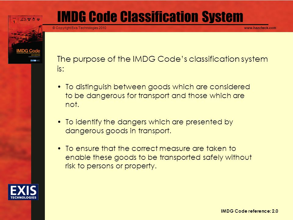 IMDG Code Classification System