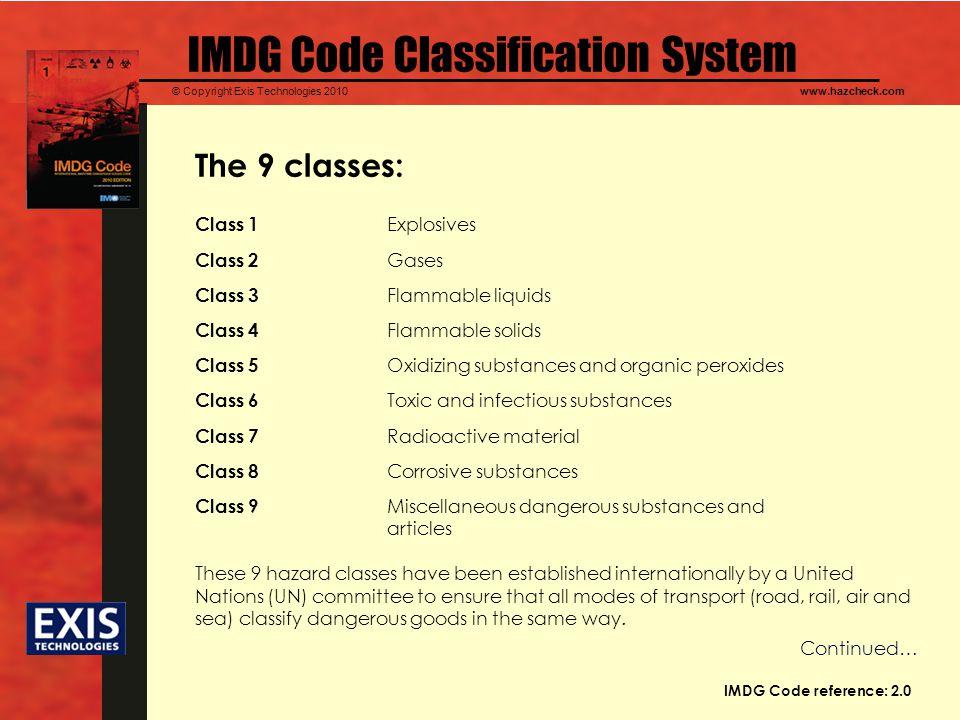 IMDG Code Classification System