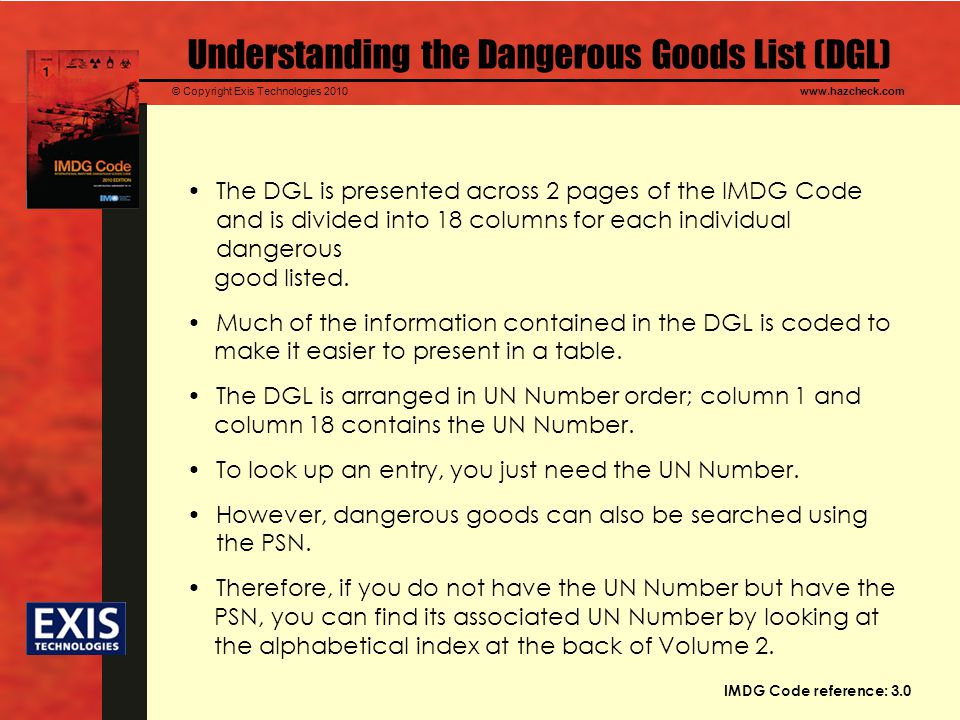 Understanding the Dangerous Goods List (DGL)
