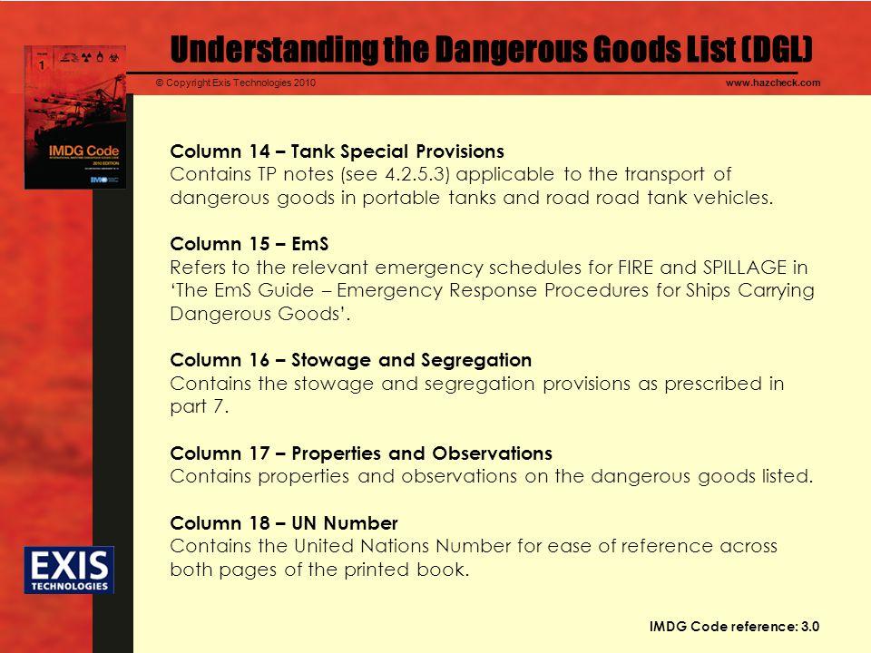 Understanding the Dangerous Goods List (DGL)