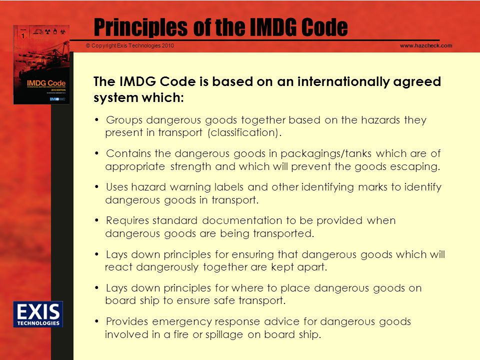 Principles of the IMDG Code