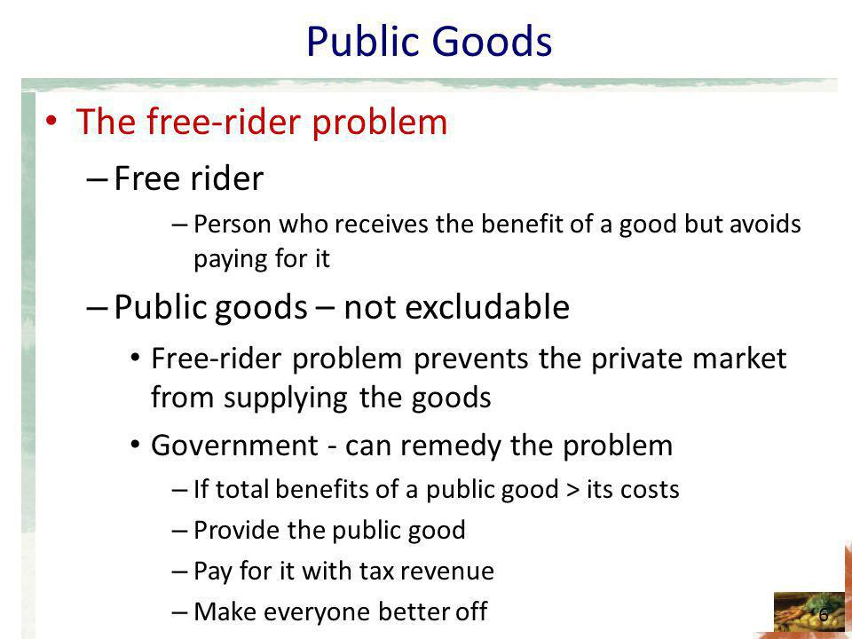 Public Goods The free-rider problem Free rider