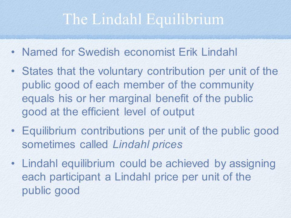The Lindahl Equilibrium