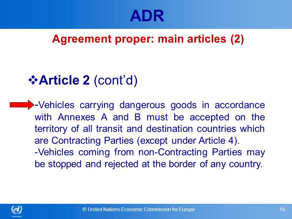 Agreement proper: main articles (2)