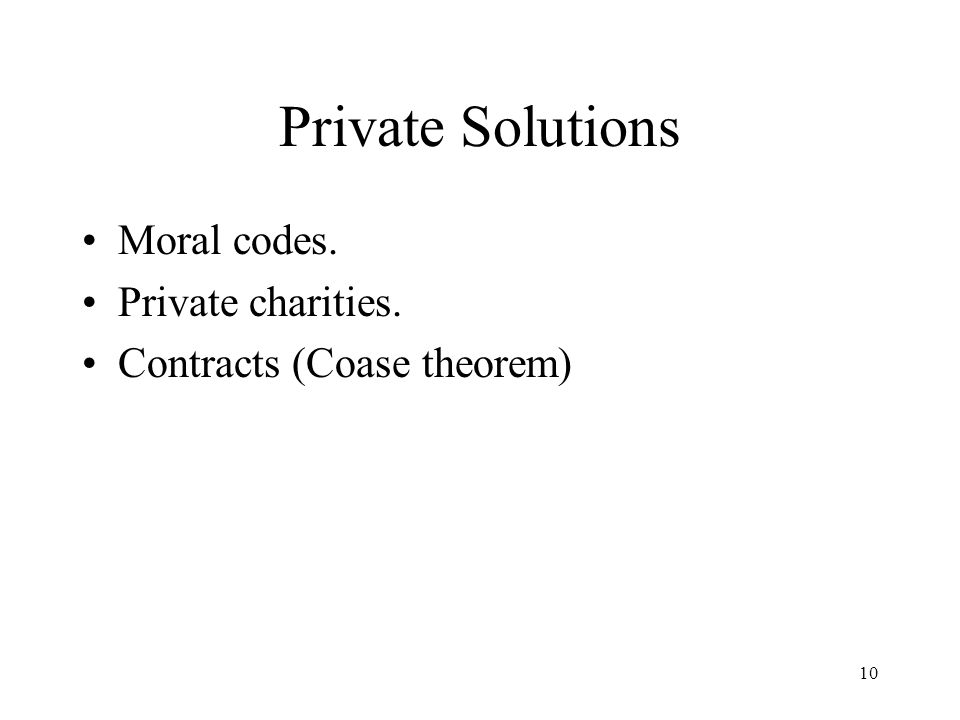 Private Solutions Moral codes. Private charities.