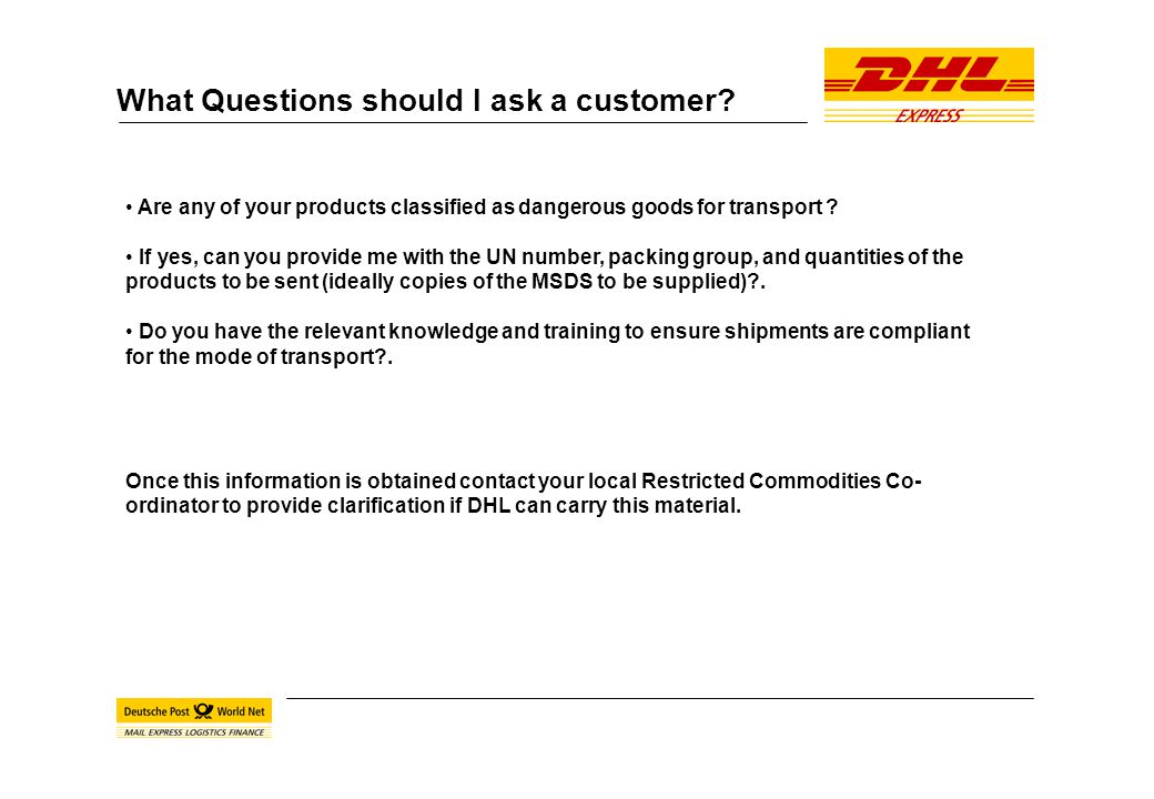 DHL Express Dangerous Goods Services