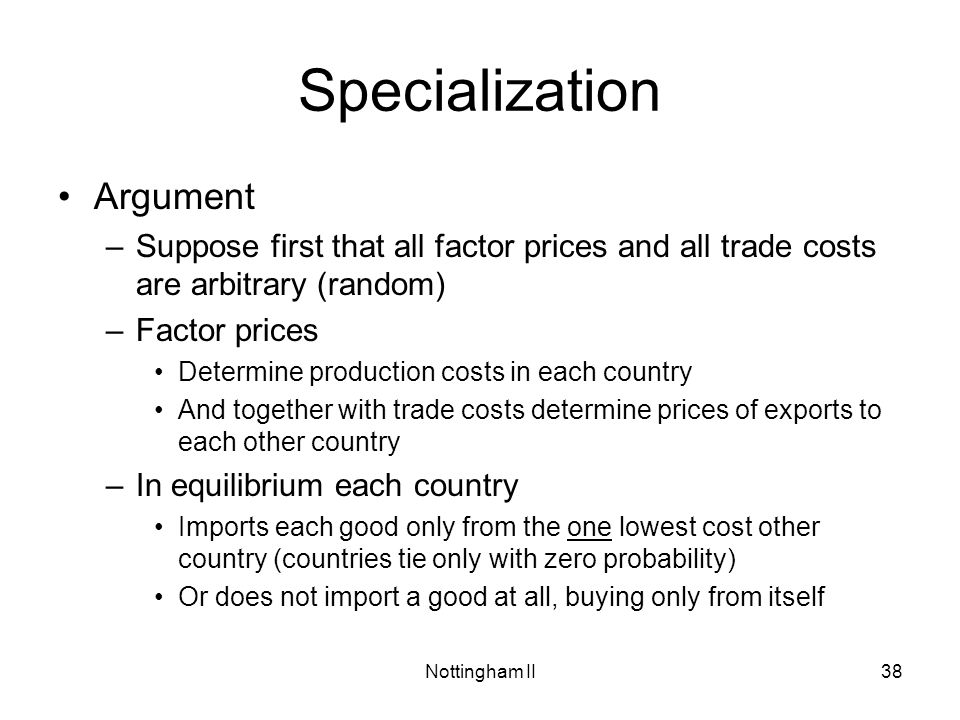 Specialization Argument