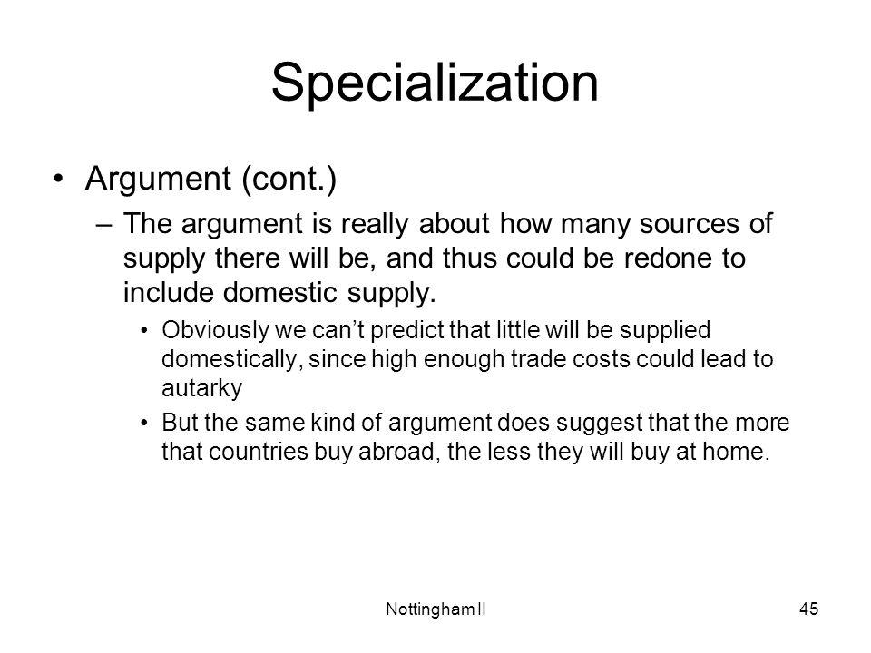 Specialization Argument (cont.)