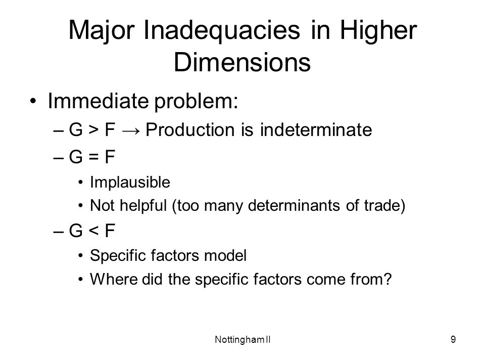 Major Inadequacies in Higher Dimensions