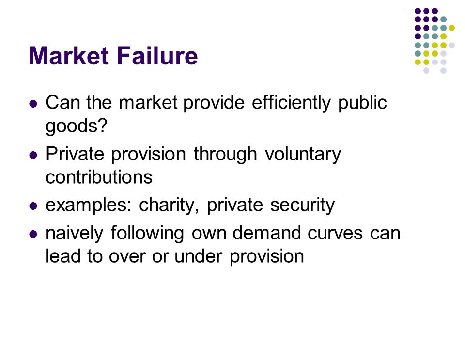 Market Failure Can the market provide efficiently public goods