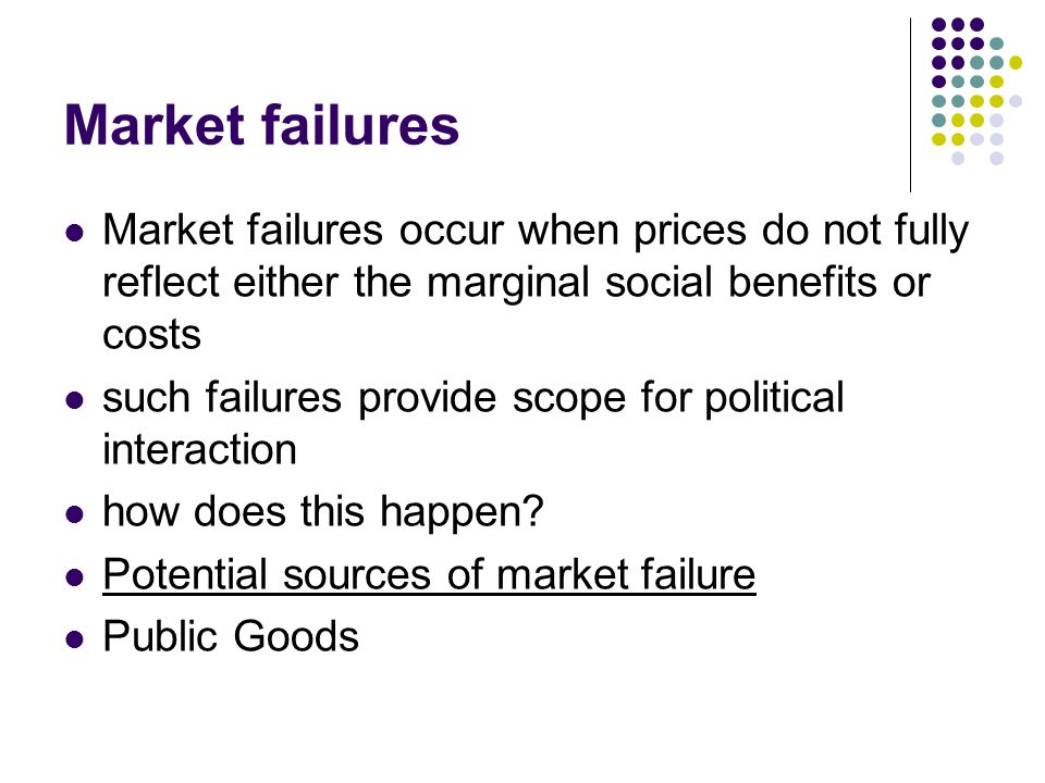 Market failures Market failures occur when prices do not fully reflect either the marginal social benefits or costs.