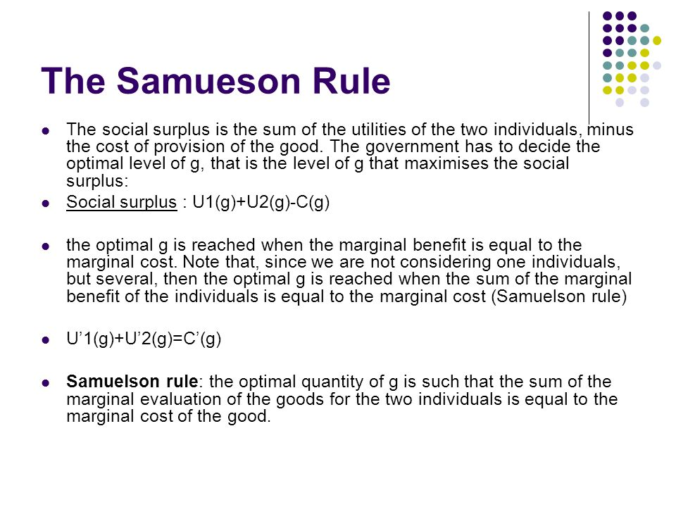 The Samueson Rule