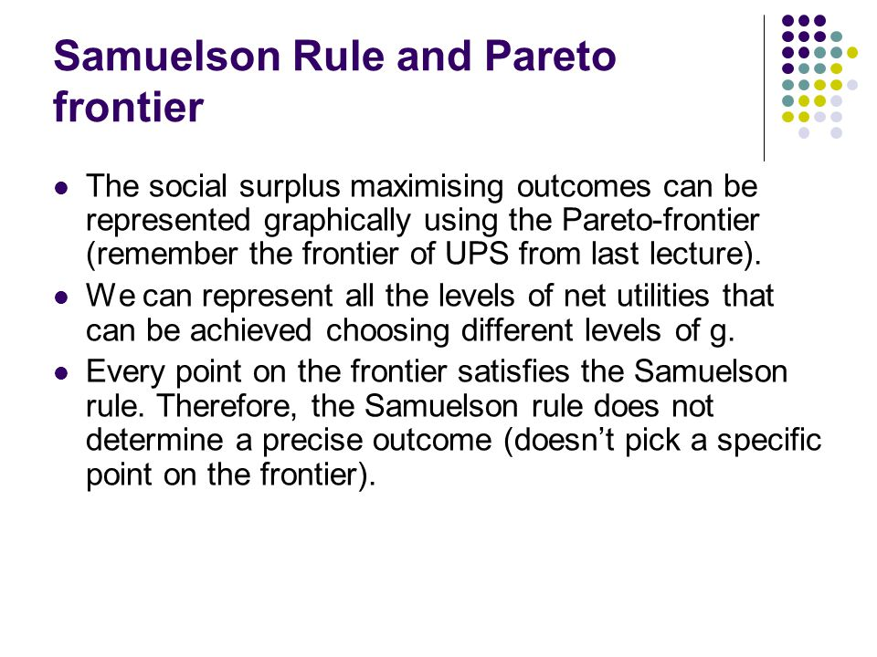 Samuelson Rule and Pareto frontier