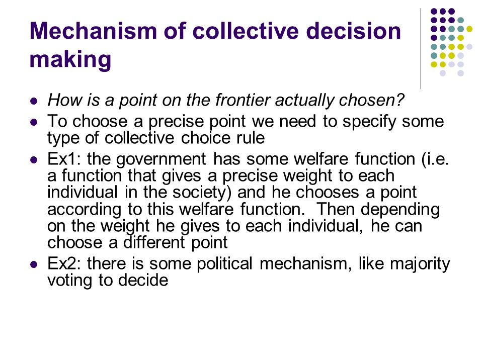 Mechanism of collective decision making