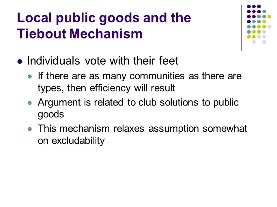 Local public goods and the Tiebout Mechanism