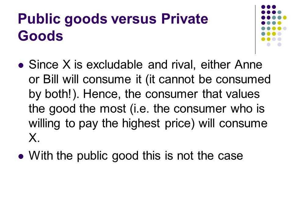 Public goods versus Private Goods