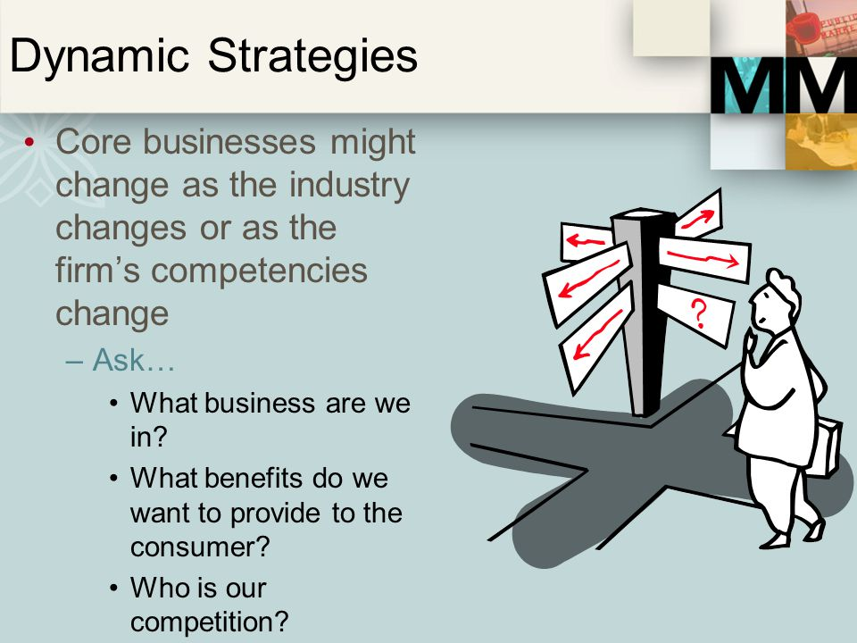 Dynamic Strategies Core businesses might change as the industry changes or as the firm's competencies change.