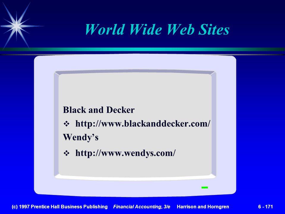 World Wide Web Sites Black and Decker http://www.blackanddecker.com/