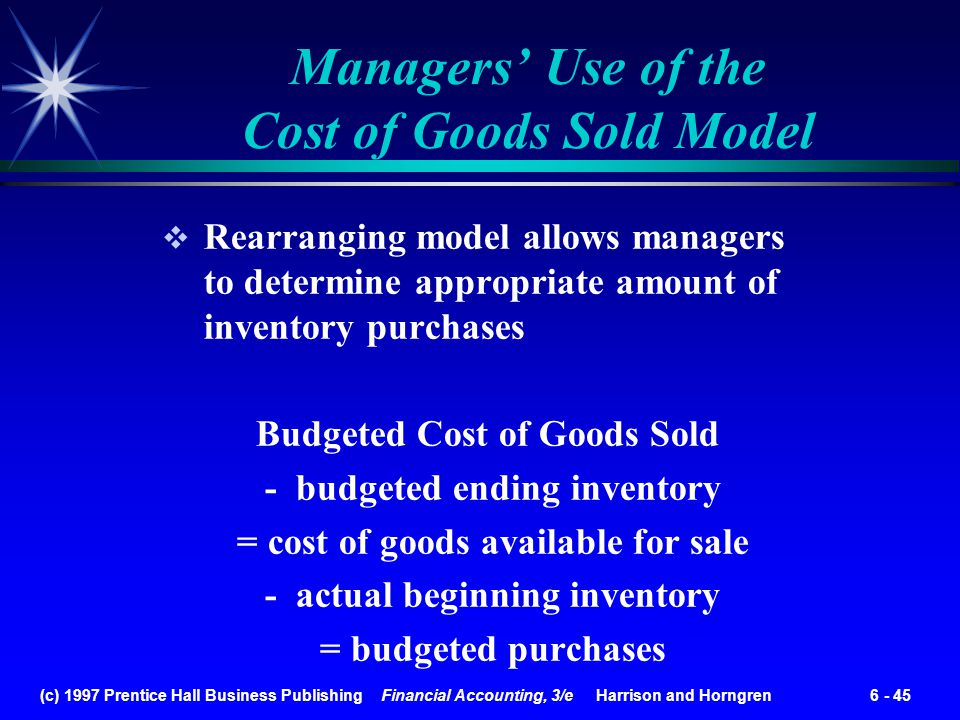 Managers' Use of the Cost of Goods Sold Model
