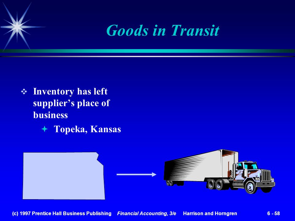 Goods in Transit Inventory has left supplier's place of business