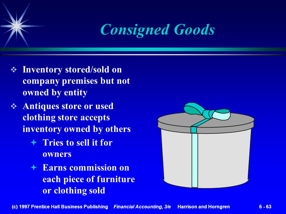 Consigned Goods Inventory stored/sold on company premises but not owned by entity.
