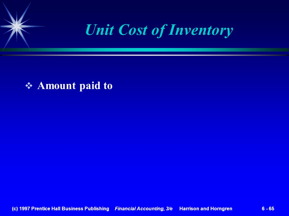 Unit Cost of Inventory Amount paid to
