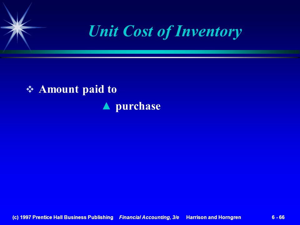 Unit Cost of Inventory Amount paid to purchase