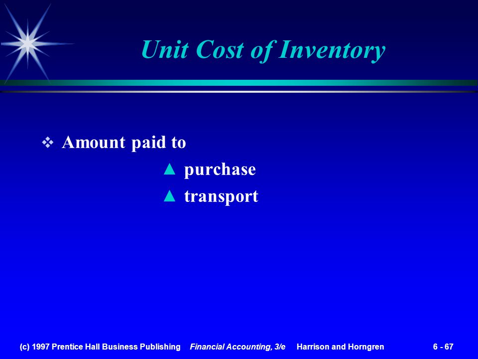 Unit Cost of Inventory Amount paid to purchase transport
