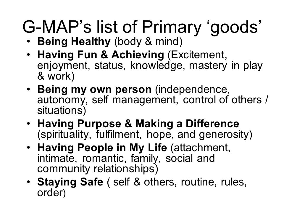 G-MAP's list of Primary 'goods'