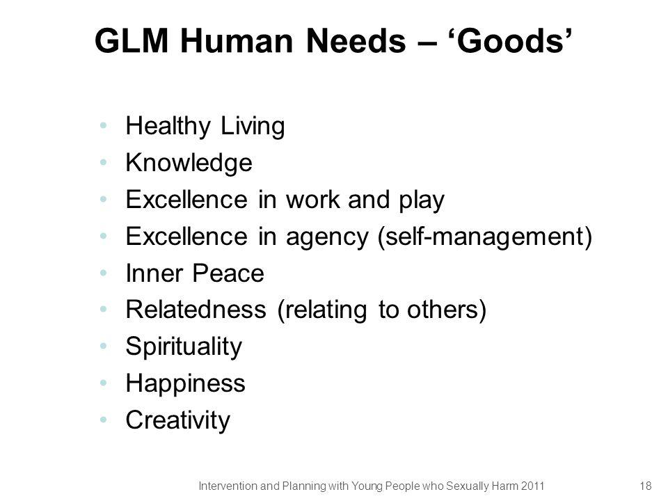 GLM Human Needs – 'Goods'