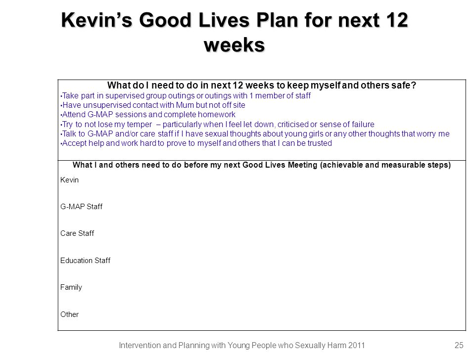 Kevin's Good Lives Plan for next 12 weeks