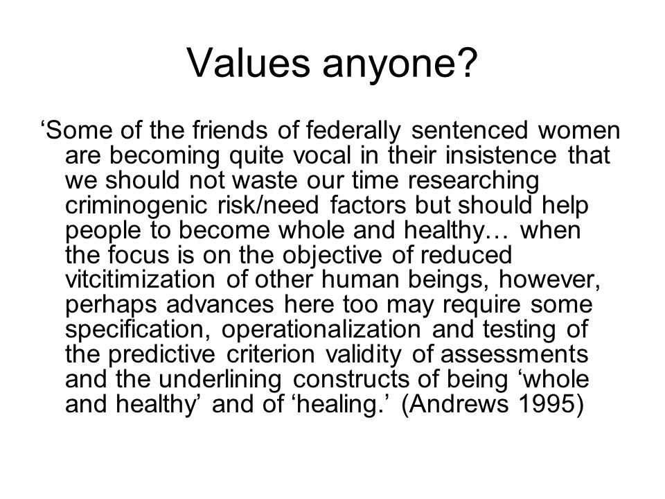 Values anyone