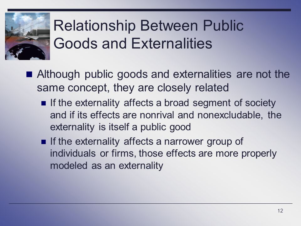 Relationship Between Public Goods and Externalities