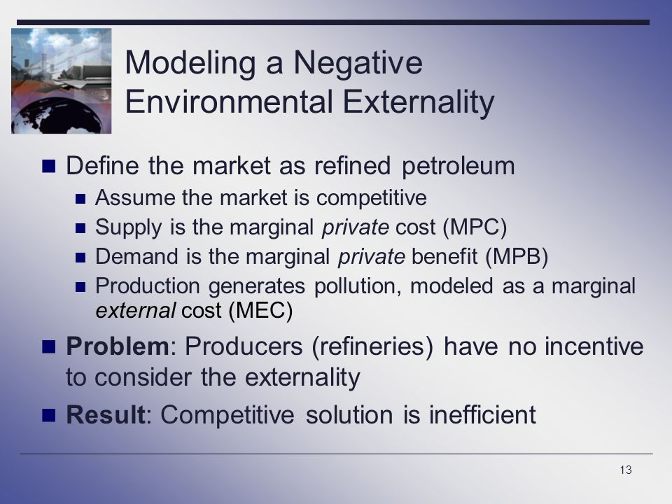 Modeling a Negative Environmental Externality