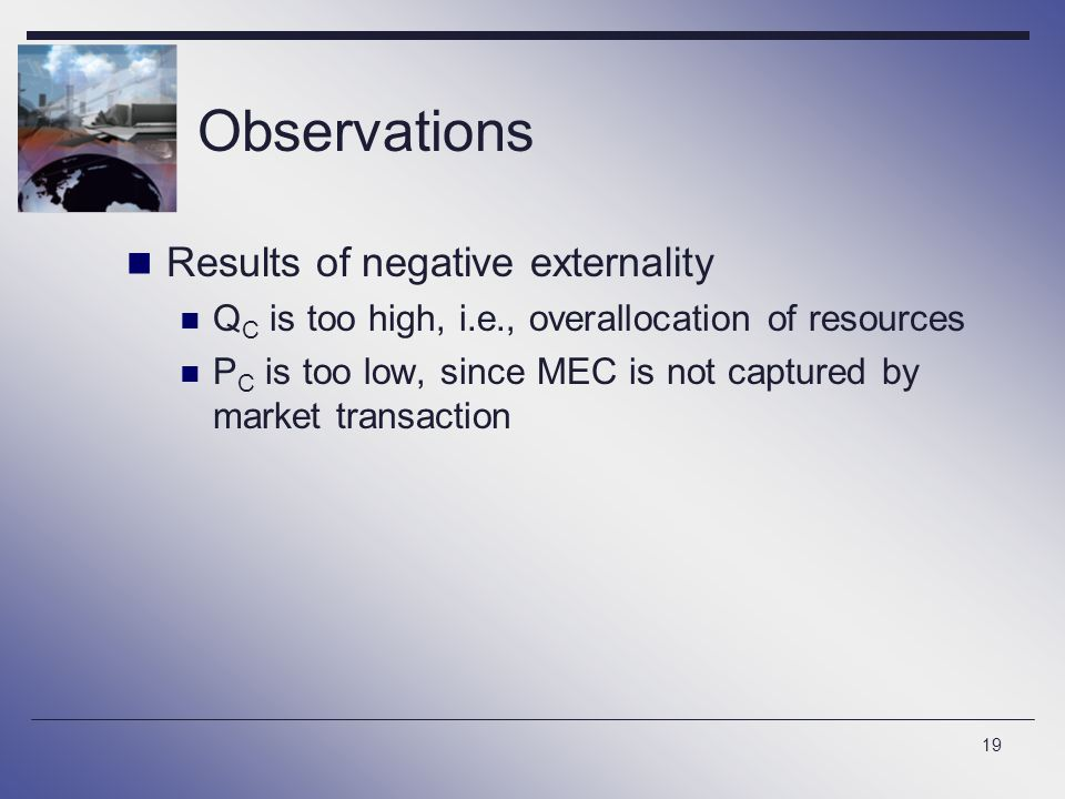 Observations Results of negative externality