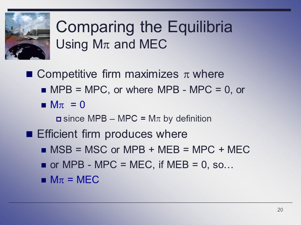 Comparing the Equilibria Using M and MEC