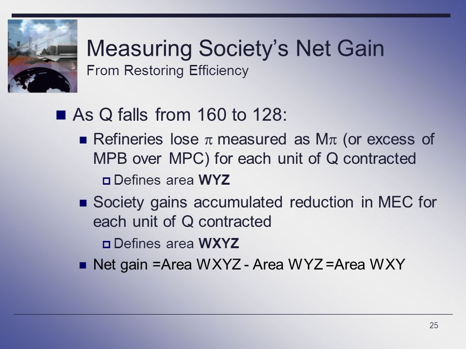 Measuring Society's Net Gain From Restoring Efficiency
