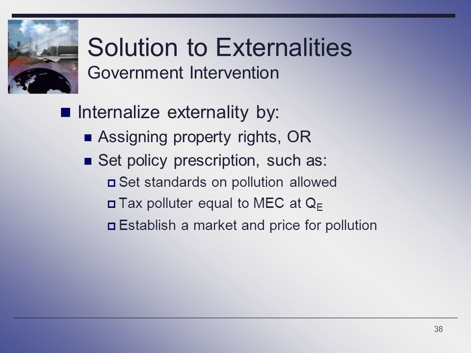 Solution to Externalities Government Intervention