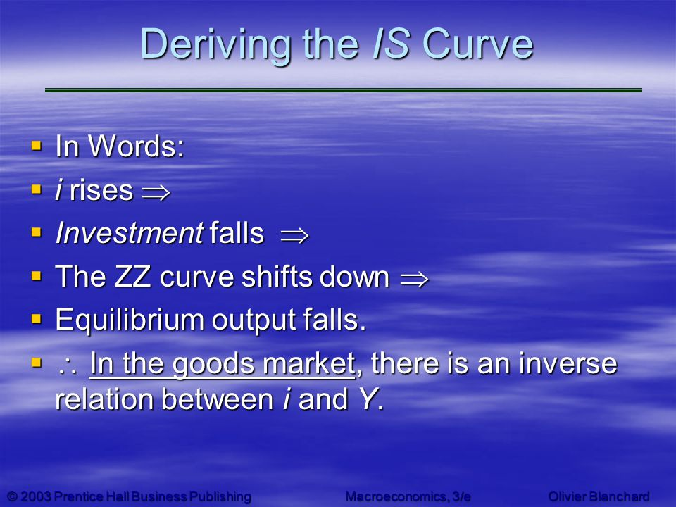 Deriving the IS Curve In Words: i rises  Investment falls 
